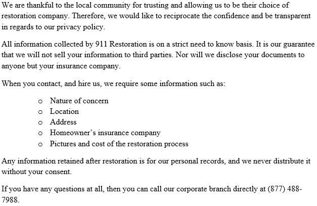 911 Restoration Privacy Policy